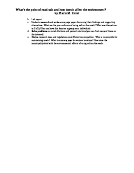 The Environmental Effects of Using Road Salt Research and Laboratory Experiment