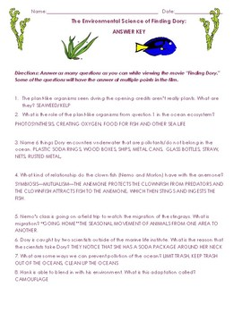 the environmental science of finding dory movie worksheet by mrs v science. Black Bedroom Furniture Sets. Home Design Ideas