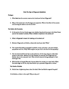The Epic of Gilgamesh Guided Reading Questions