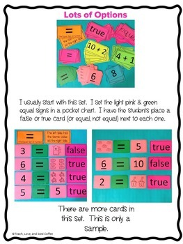 The Equal Sign - Pocket Chart Activities to Help Build an Understanding!