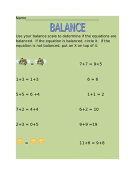 The Equal Sign and Balance