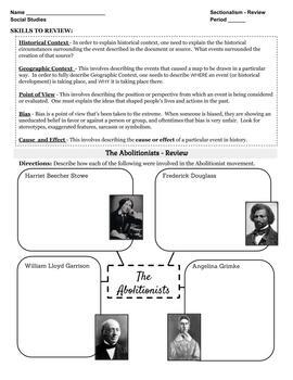 Sectionalism and Events Leading to Civil War Review and Test Critical Thinking