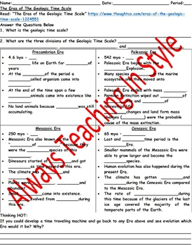 the eras of the geologic time scale reading and worksheet editable - Geologic Time Scale Worksheet