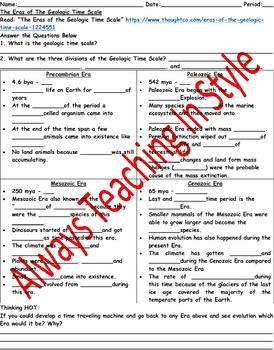 Geologic Time Scale Worksheet Teaching Resources Teachers Pay Teachers