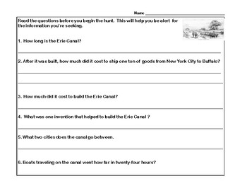 Reading-The Erie Canal- Read and Write The Room- Grades 4-7