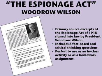 The Espionage Act of 1918 - US History/APUSH