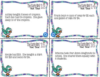 The Essential Early Bird Task Cards Bundle for Upper Elementary Math
