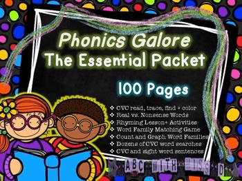 The Essential Phonics Packet *NO PREP* CVC, Word families, Rhyming