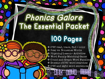 The Essential Phonics Packet *NO PREP* CVC, Word families,