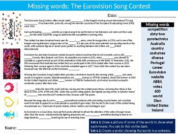 The Eurovision Song Contest Missing Words Cloze Sheet Starter Activity Music