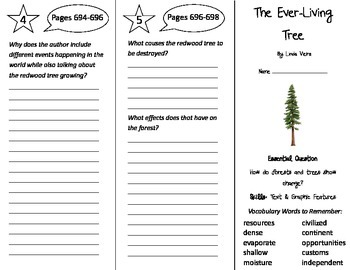 The Ever-Living Tree Trifold - Journeys 4th Grade Unit 5 Week 3 (2014, 2017)