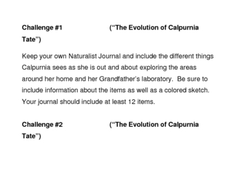 """""""The Evolution of Calpurnia Tate"""", by J. Kelly, Project Challenges"""
