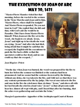 The Execution of Joan of Arc Primary Source Worksheet