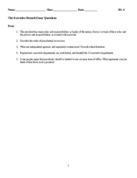 The Executive Branch Discussion/Essay Questions