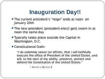 The Executive Branch, Inauguration & Cabinet