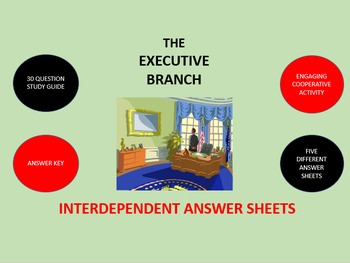 The Executive Branch: Interdependent Answer Sheets Activity