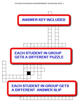 The Executive Branch: Interdependent Crossword Puzzles Activity
