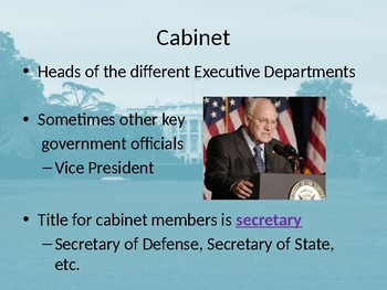 The Executive Departments Graphic Organizer + PowerPoint Notes