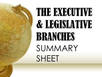 The Executive & Legislative Branches Summary Sheet
