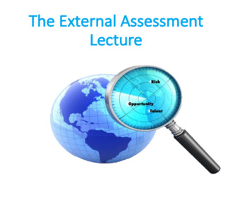 The External Assessment Lecture (Strategic Management)