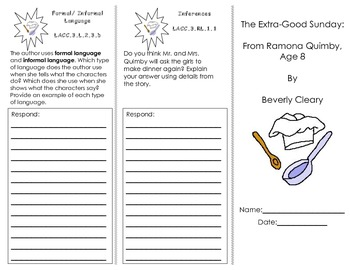 The Extra-good Sunday from Ramona Quimby Trifold/ Journeys 3rd