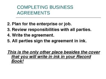 The FFA Recordbook Business Agreements