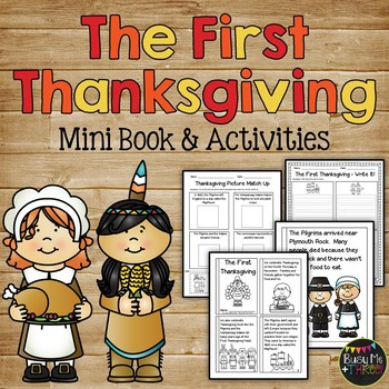 The FIRST THANKSGIVING Mini Book, Class Book, Sequencing, and Writing Pages