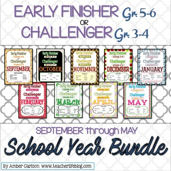 The FULL School Year Bundle: Early Finisher or Challenger Grades 3-6