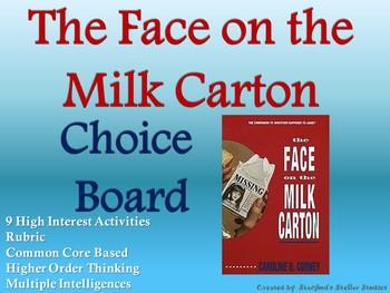 The Face on the Milk Carton Choice Board Novel Activities Menu Book Project
