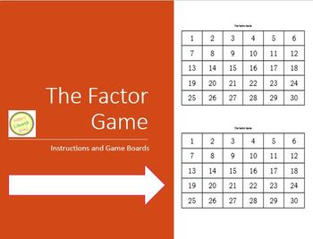 The Factor Game - Instructions plus various sized game boards
