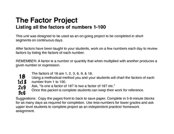 The Factor Project; List the factors 1-100 by Ana Filomia | TpT