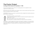 The Factor Project; List the factors 1-100
