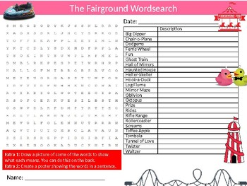 The Fairground Wordsearch Sheet Starter Activity Keywords Fair Leisure