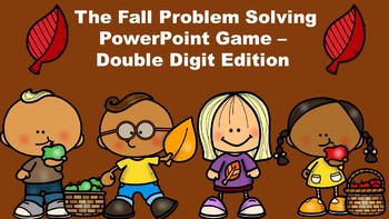 The Fall Problem Solving PowerPoint Game - Double Digit Edition
