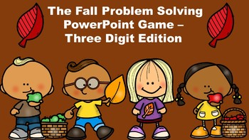 The Fall Problem Solving PowerPoint Game - Three Digit Edition