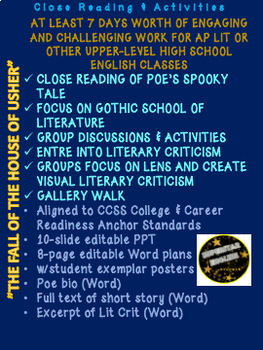 The Fall of the House of Usher by Edgar Allan Poe: Close Reading & Activities