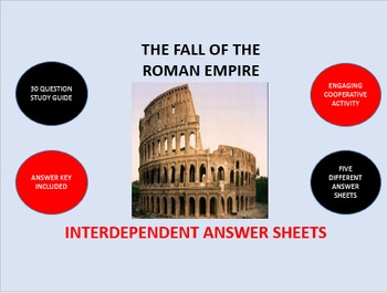 The Fall of the Roman Empire: Interdependent Answer Sheets Activity