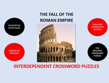 The Fall of the Roman Empire: Interdependent Crossword Puzzles Activity