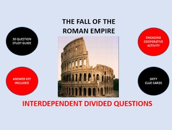 The Fall of the Roman Empire: Interdependent Divided Questions Activity