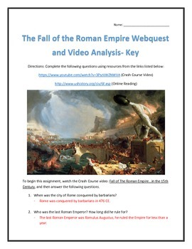 The Fall of the Roman Empire- Webquest and Video Analysis with Key
