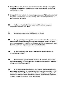"""""""The False Gems"""" by Guy de Maupassant--Comprehension Questions"""