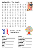 The Family (French) Word Search