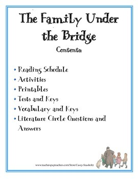 The Family Under the Bridge: Test, Vocabulary, Activities, Literature Study...