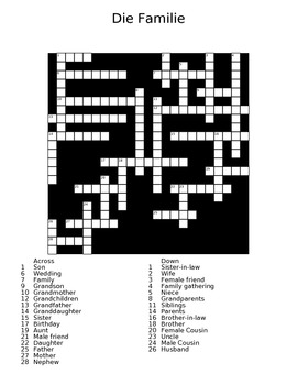 The Family (die Familie) German Crossword Puzzle with Answer Sheet