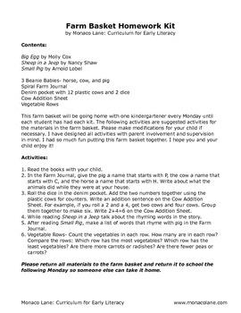 """The Farm Basket"" Homework Kit for Kindergarten (Set A #5 of 10)"