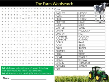 The Farm Wordsearch Puzzle Sheet Keywords Homework Farming Nature