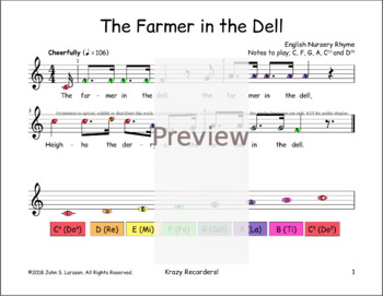 The Farmer In The Dell - Dotted - Boomwhackers® Bells Sheet Music
