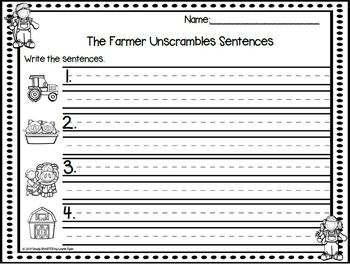 The Farmer Unscrambles Sentences:  LOW PREP Sentence Building Activity