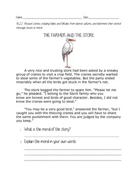 The Farmer and the Stork fable response