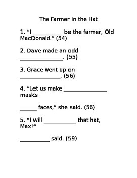 The Farmer in the Hat Cloze Activity